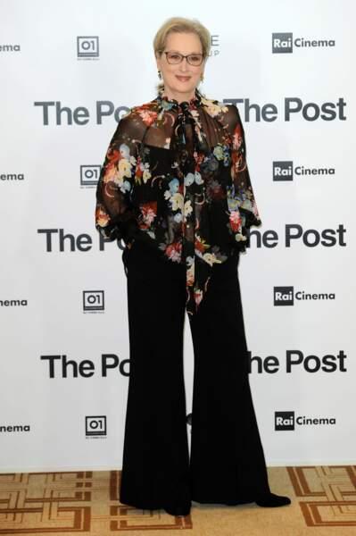"""Meryl Streep lors de la première du film """"The Post"""" à Milan, le 15 janvier 2018"""