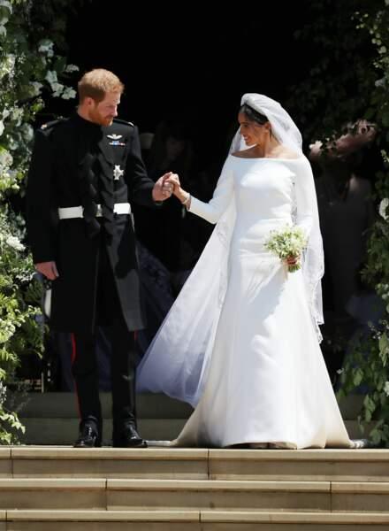 Le prince Harry et Meghan Markle à la sortie de la chapelle