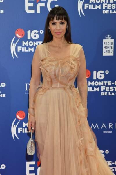 Mathilda May, glamour, au Festival du Film de Monte Carlo, le 9 mars 2019.