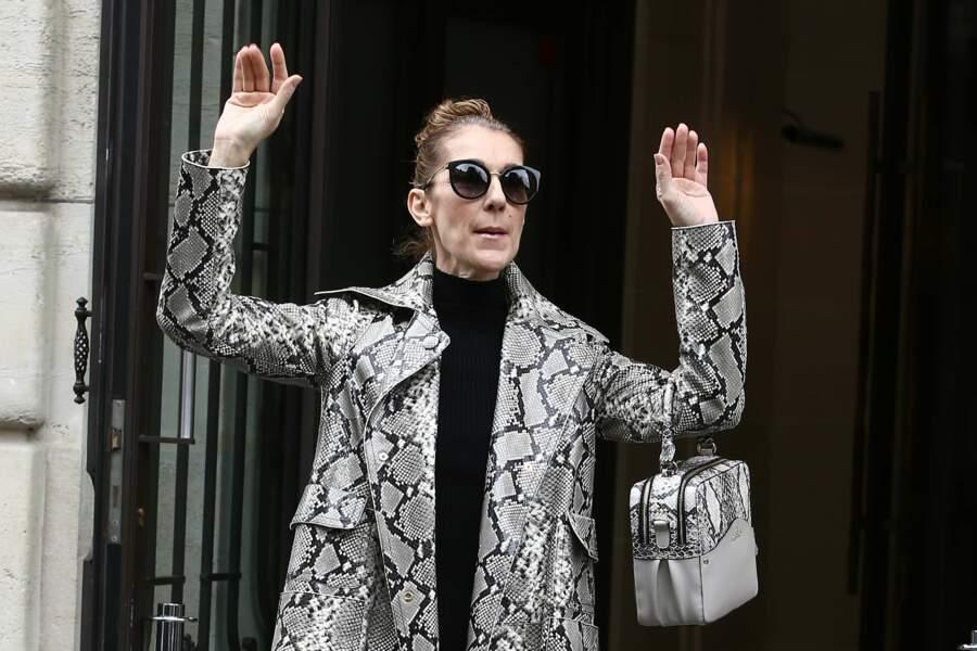 A Paris, Céline Dion calme ses fans dans une tenue python grise