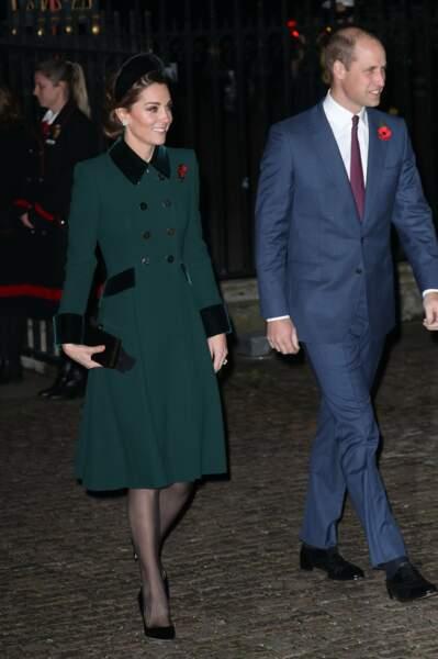 Kate Middleton et William arrivant à l'Abbaye de Westminster pour commémorer l'Armistice, le 11 novembre 2018