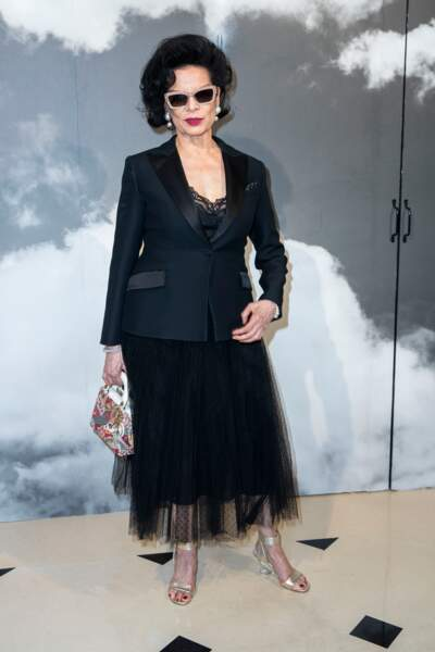 Bianca Jagger toujours stylée chez Dior