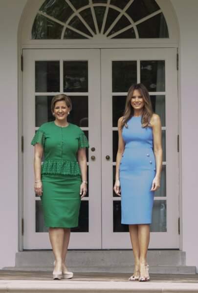 Avec l'épouse du chef d'état panamien