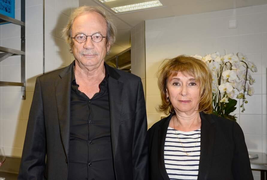 Josiane Stoléru et son mari en mai 2015 dans les cuisines du restaurant triplement étoilé du chef Guy Savoy