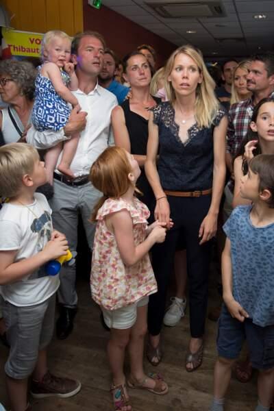 Tiphaine Auzière et ses enfants lors de la soirée électorale