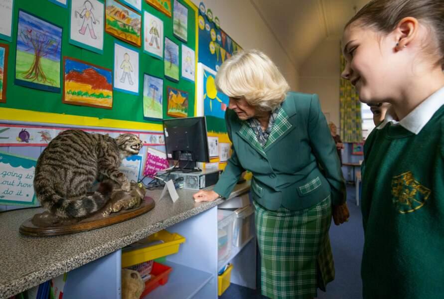 Camilla à l'école primaire de Crathie, en Ecosse, le 12 octobre 2018