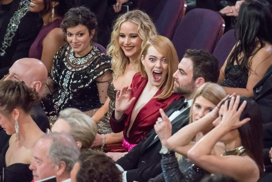 Jennifer Lawrence et Emma Stone aux Oscars à Los Angeles le 4 mars 2018