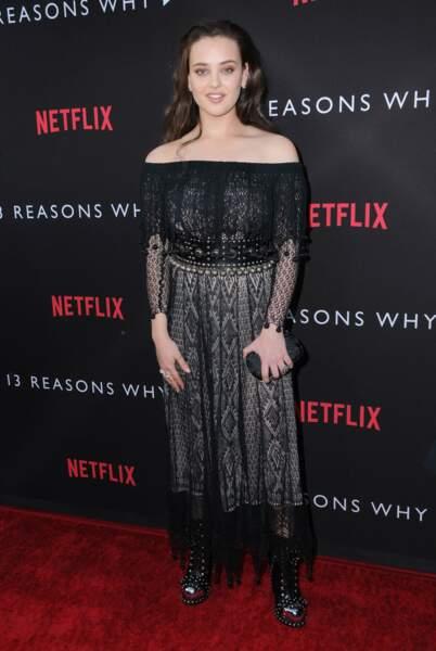 """Katherine Langford, pour la premiere de la série Netflix """"13 reasons why"""""""
