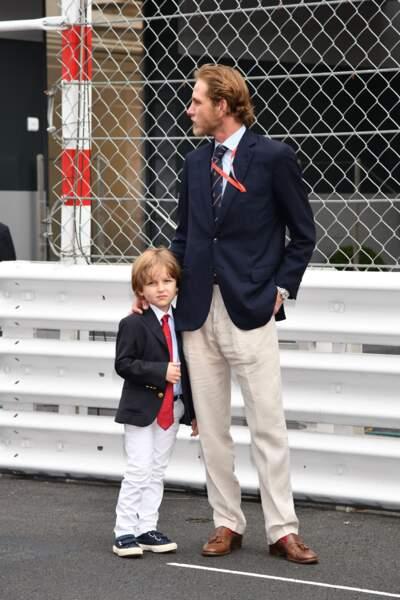 Andréa Casiraghi et son fils Sacha lors du 76ème Grand Prix de Monaco le 27 mai 2018