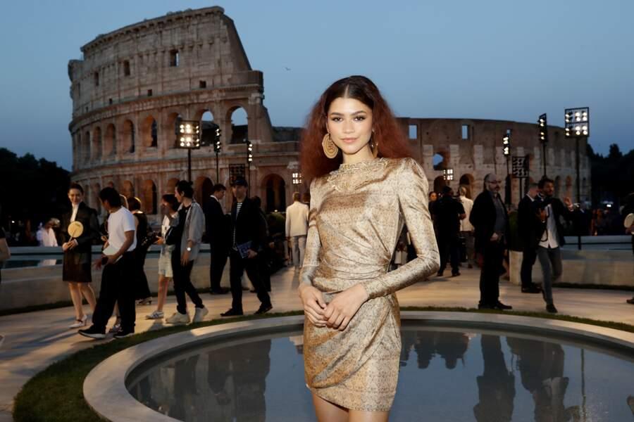 Zendaya était présente au cocktail Fendi, au Temple de Rome, après le défilé hommage à Karl Lagerfeld.
