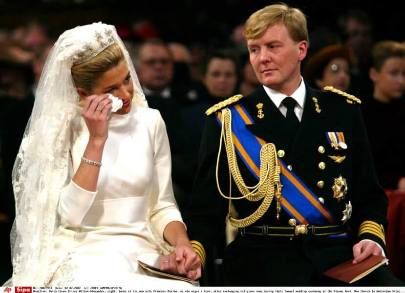 Maxima des Pays-Bas en larmes lors de son mariage à Willem-Alexander, le 2 février 2002 à Amsterdam