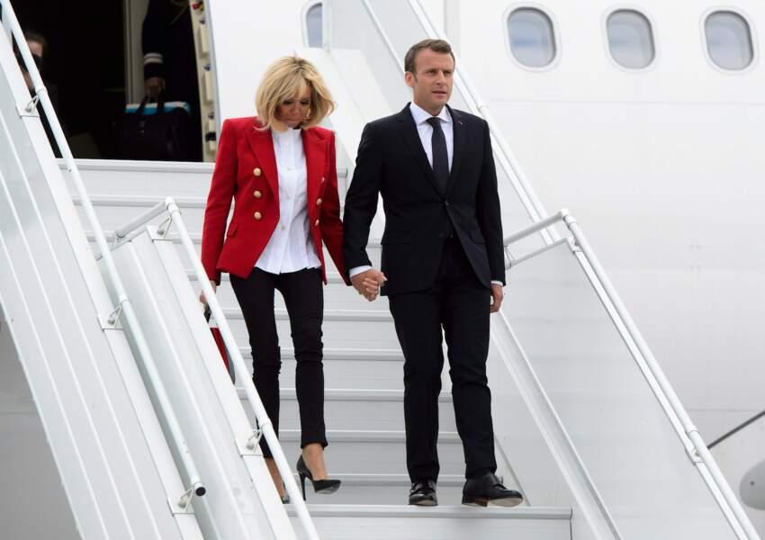 Brigitte et Emmanuel Macron arrivent à Ottawa, Canada, le 6 juin 2018
