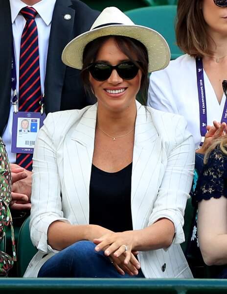Meghan Markle tout sourire à Wimbledon, le 4 juillet 2019.