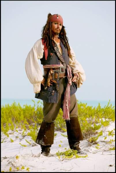 "Johnny Depp dans ""Pirates de Caraïbes 2"" en 2006"