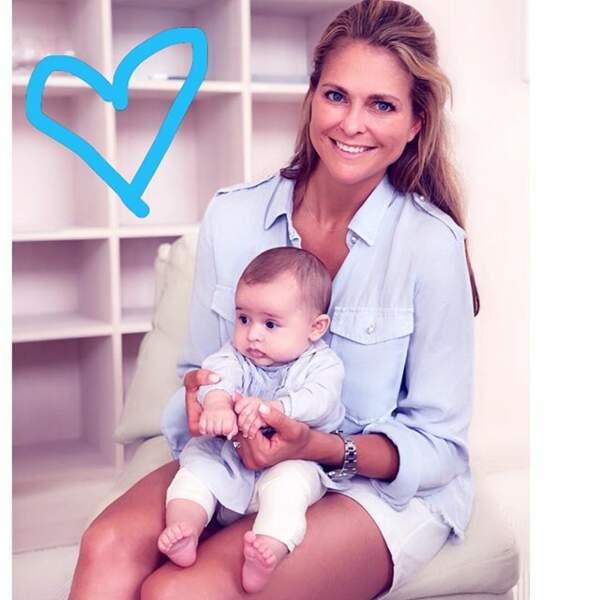 La princesse Madeleine de Suède, avec sa fille Adrienne née le 9 mars 2018
