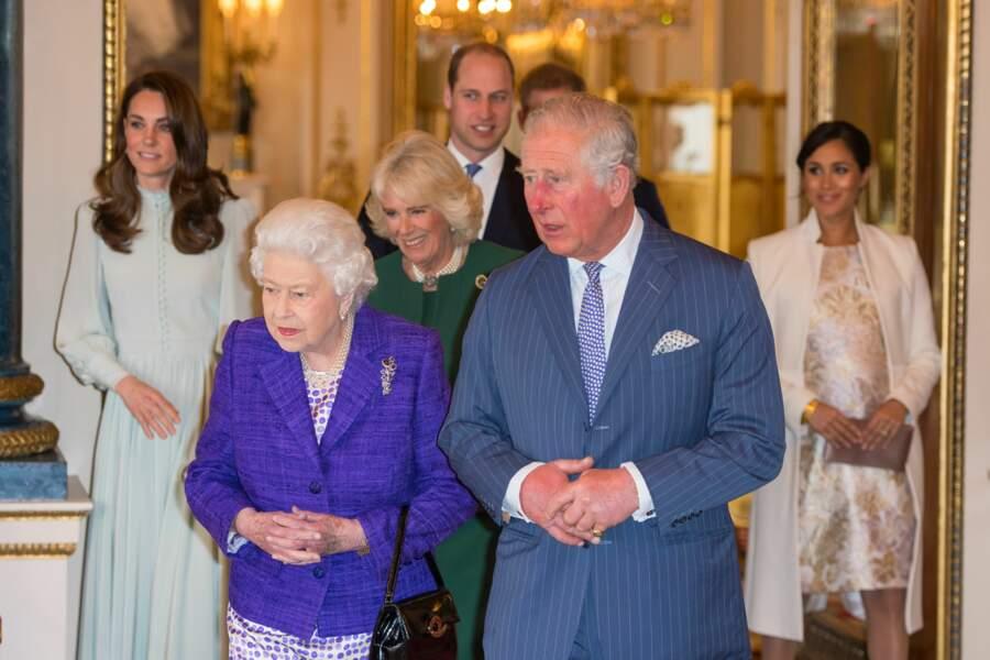 Elizabeth II et le prince Charles à Buckingham Palace à Londres ce mardi 5 mars