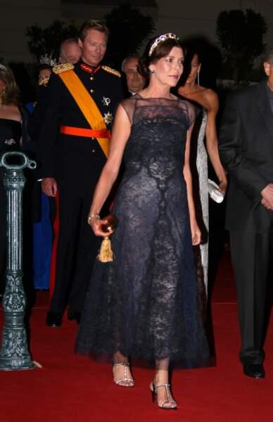 Caroline de Monaco arrive à la soirée de mariage d'Albert de Monaco et Charlene Wittstock, en 2011 à Monaco