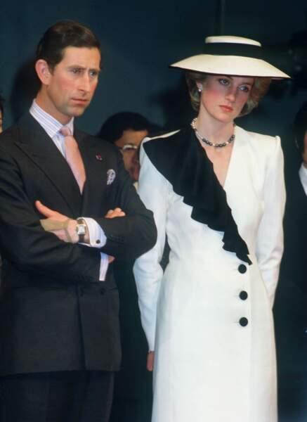 Lady Diana et le prince Charles, au Japon, en 1986