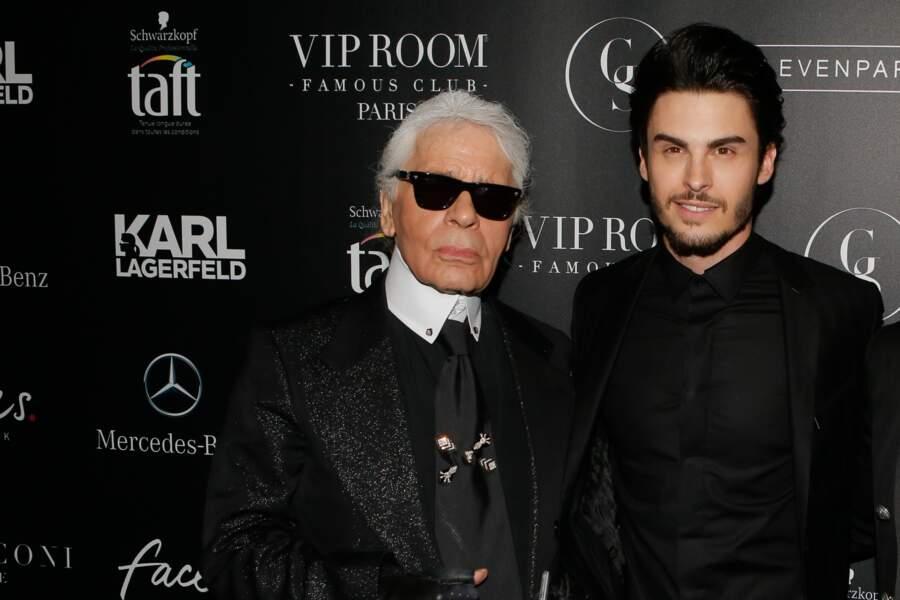 """Baptiste Giabiconi et Karl Lagerfeld à la soirée """"Giabiconistyle.com opening"""" au Vip Room, en 2015"""