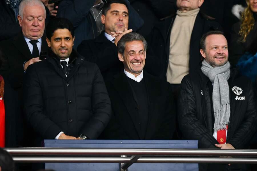 Nicolas Sarkozy accompagné de Nasser Al-Khelaïfi pour assister au match du PSG