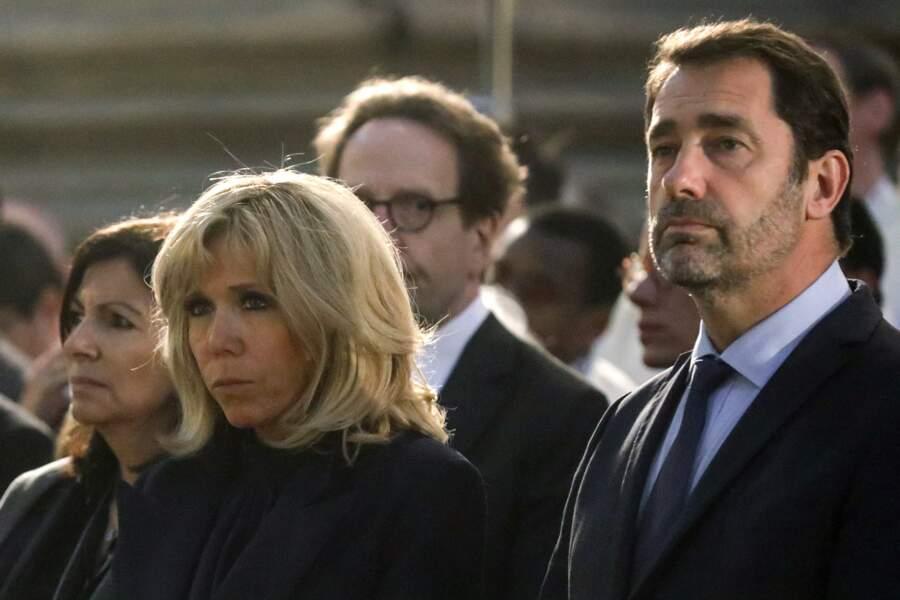 Brigitte Macron et Christophe Castaner ont assisté à la messe chrismale dans l'église Saint-Sulpice le 17 avril