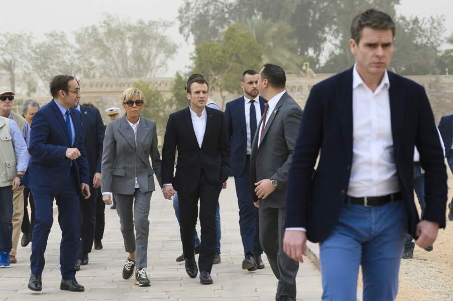 Le couple Macron en visite officielle au temple d'Abou Simbel en Egypte, le 27 janvier 2019