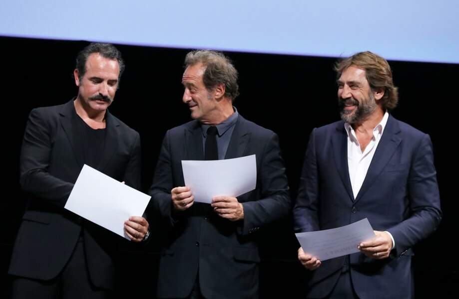 Jean Dujardin, Vincent Lindon et Javier Bardem  au Festival Lumière à Lyon le 13 octobre 2018
