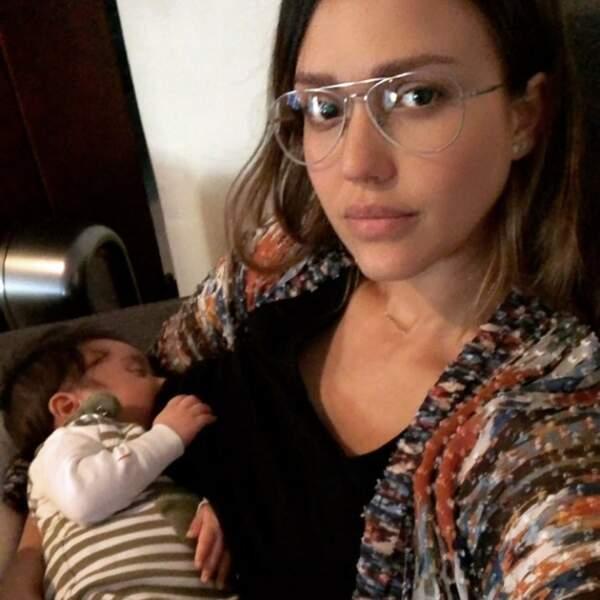 Jessica Alba et son petit dernier, son fils Hayes Alba Warren, né le 31 décembre 2017