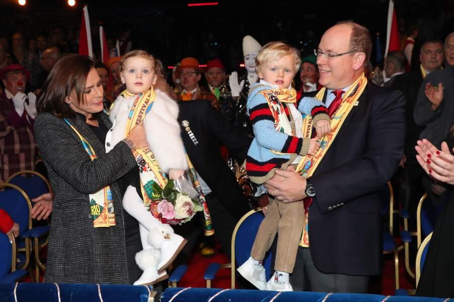Stéphanie, Gabriella, Jacques et Albert au Festival International du Cirque de Monte Carlo le 21 janvier 2018