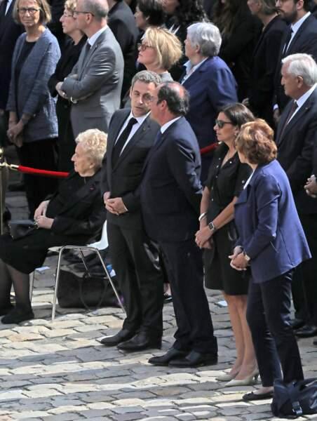 Bernadette Chirac, Nicolas Sarkozy, Francois Hollande et Anne Hidalgo Hommage national à Simone Veil aux Invalides