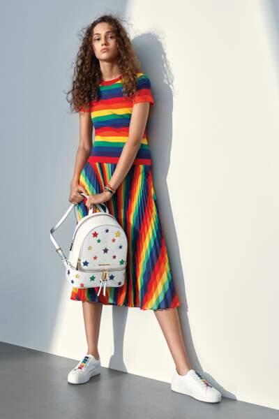 """La robe arc en ciel et le sac à dos  """"Pride Month """"de Michael Michael Kors"""