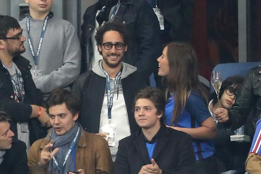 Thomas Hollande et sa compagne Emilie Broussouloux (journaliste France 2) lors du match du quart de finale de l'UEF