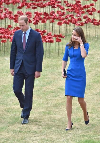 William et Kate Middleton lors d'un hommage aux soldats de la première guerre mondiale à Londres, le 5 août 2014