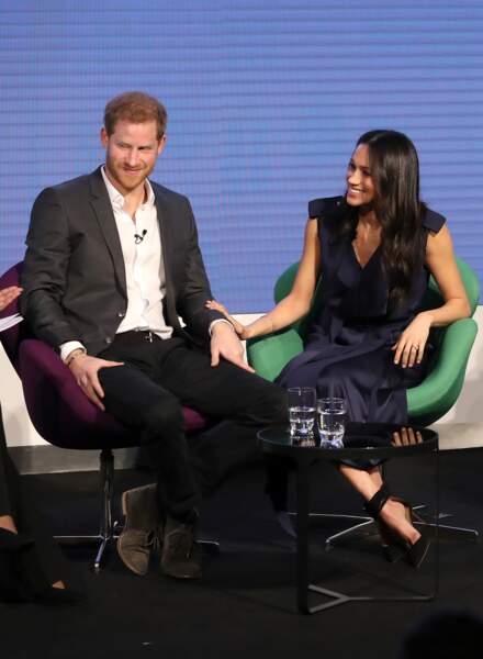 Le prince Harry et Meghan Markle lors du premier forum annuel de la Fondation Royale, à Londres le 28 février 2018.