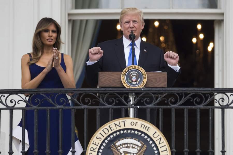 Melania Trump était sublime dans sa longue robe bleue