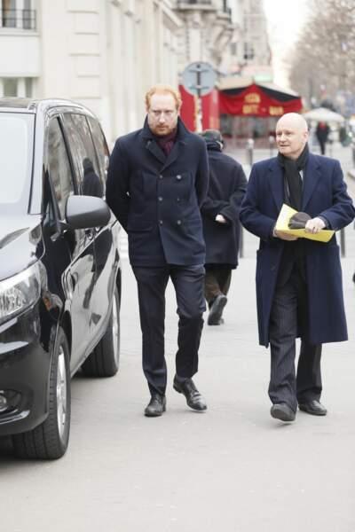 Serge Akl et Christophe Girard aux obsèques de Henry Chapier à Paris le 4 février 2019