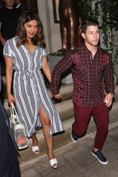 Priyanka Chopra a fêté ses 36 ans lors d'un dîner à Londres avec son fiancé Nick Jonas, le 16 juillet 2018.