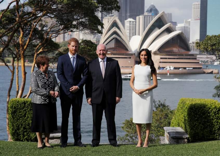 Le prince Harry et Meghan Markle, enceinte, à la Chambre d'Amirauté, à Sydney, le 16 octobre 2018