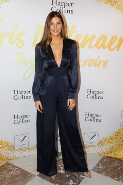 Camille Cerf (Miss France 2015) à la soirée de lancement du livre d'Iris Mittenaere, le 6 novembre 2018 à Paris