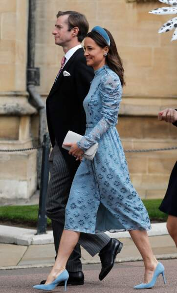 Pippa Middleton était vêtue d'une magnifique robe bleu au mariage de Gabriella Windsor, le 18 mai 2019