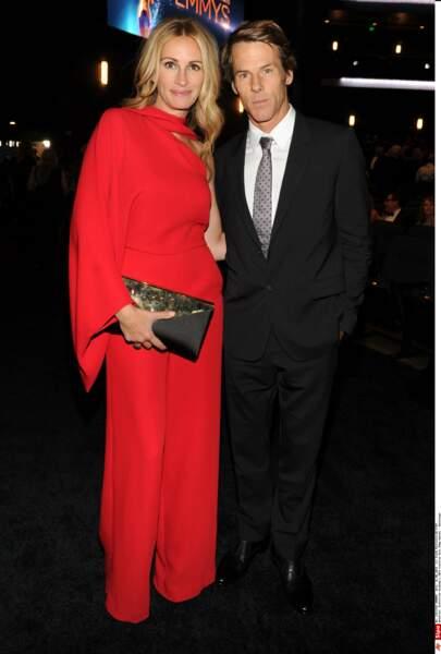 Avec son mari Danny Moder à la cérémonie des Emmy Awards en 2014
