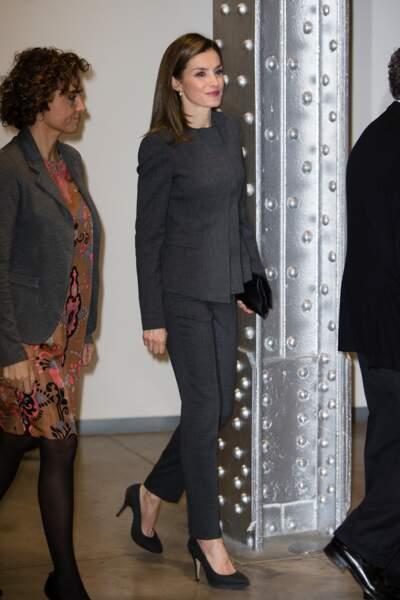 La reine Letizia d'Espagne assiste au 6ème forum de lutte contre le cancer à Madrid, le 2 février 2017