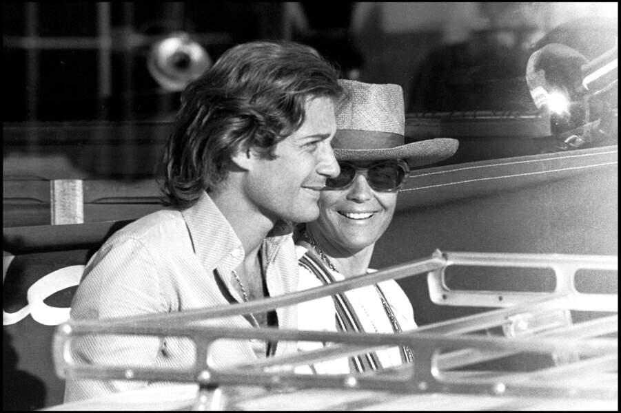 Romy Schneider et Daniel Biasini à Saint Tropez en 1975