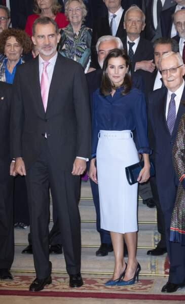 Le roi Felipe VI et la reine Letizia d'Espagne assistent ‡ une rÈunion ‡ la Royal Academy of Language de Madrid, le