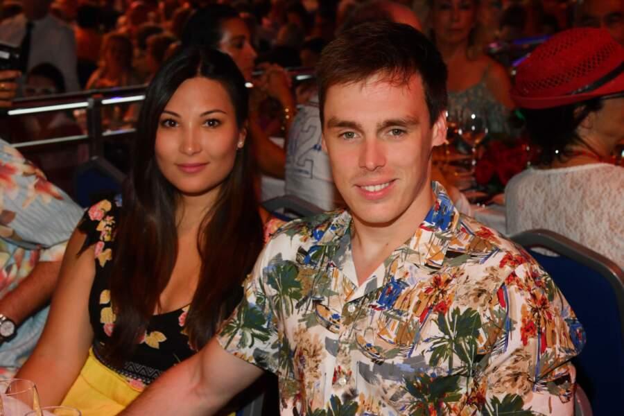 Louis Ducruet et sa future épouse Marie Chevalier à la soirée Fight Aids à Monaco, le 13 juillet 2019.