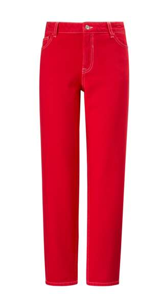 Flashy, jeans droit rouge, 39,99 € (Mango).