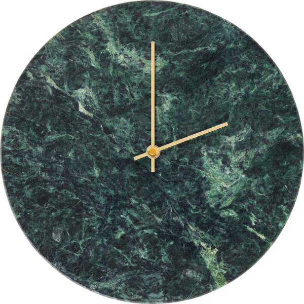 Horloge murale en marbre vert, 45 €, Habitat.