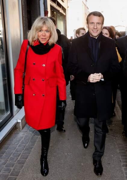 Emmanuel Macron et sa femme à Clermont-Ferrand le 7 janvier 2017