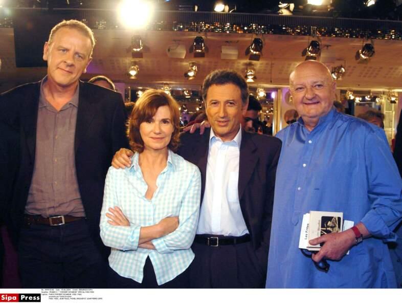 Miou-Miou, Jean Teulé, Michel Drucker et Jean-Pierre Coffe dans Vivement Dimanche.