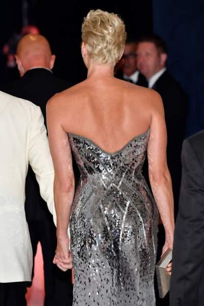La princesse Charlène de Monaco de dos lors du 69ème Gala de la Croix-Rouge Monégasque